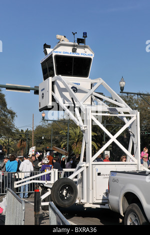 Police observation tower during 2010 Mardi Gras parade, New Orleans, Louisiana - Stock Photo