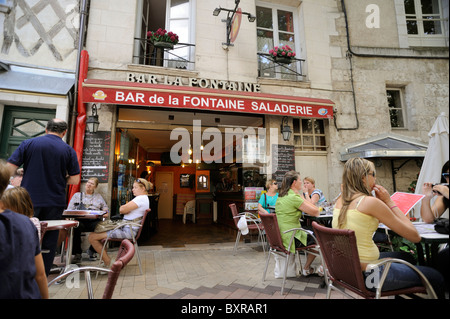 france, loire valley, blois, outdoor cafe - Stock Photo
