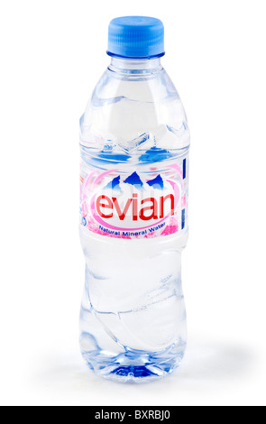 Bottle of Evian natural mineral water, UK - Stock Photo
