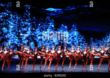 'Sleigh ride' scene - Radio city music hall Christmas spectacular show in New York city 2010 - Stock Photo