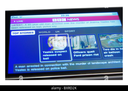 cutout of ipod touch showing bbc news home page Joanna Yeates murder enquiry - Stock Photo