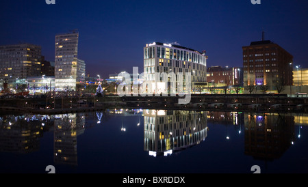 The Skyline of Liverpool City Centre Waterfront and Docks, Merseyside, UK - Stock Photo