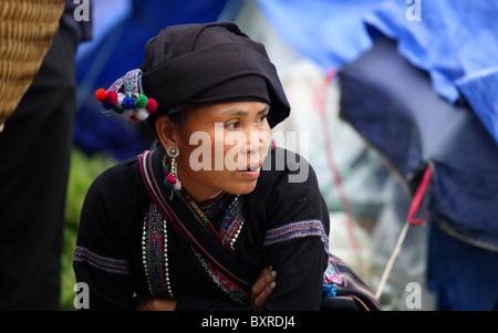 Female from the Lu minority hill tribe famous fro their blackened teeth which they see as a sign of beauty, Sapa, - Stock Photo