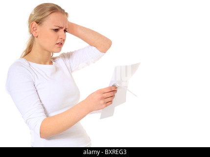 Attractive blonde woman getting bad news. All on white background. - Stock Photo