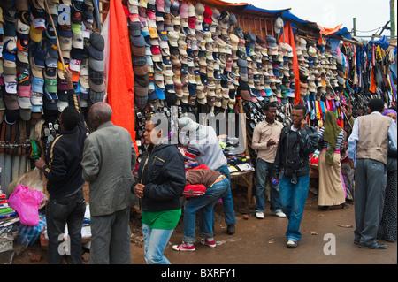 Market street scene, Mercato Addis Ababa, Ethiopia Africa - Stock Photo