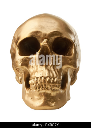Golden human skull isolated on white background - Stock Photo