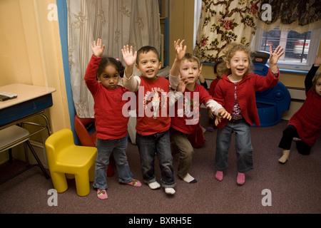Nursery school and Pre-K program in the highly multicultural Kensington neighborhood in Brooklyn, New York. - Stock Photo