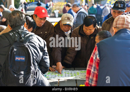 Chinese Americans playing Xiang qi, or Chinese chess in Columbus Park, Chinatown, New York City - Stock Photo