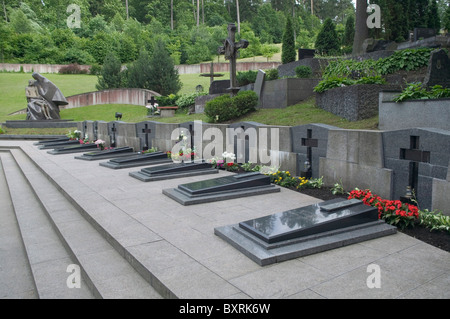 Lithuania, Vilnius, Antakalnis Cemetery, the graves of people killed by Russian tanks in 1991 - Stock Photo