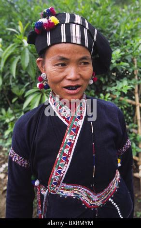 Lu minority woman with traditional blackened teeth. Binh Lu, Lai Chau Province, Northern Vietnam. - Stock Photo