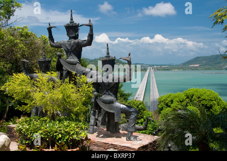 Thailand, Thaksin Folklore Museum, Ko Yo, view from museum over the Thale Sap and Prem Tinsulanonda Bridge - Stock Photo