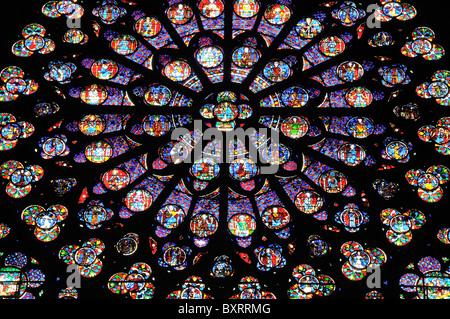 Rose window on Notre Dame Cathedral, Île de la Cité, Paris, Île-de-France, France, Europe - Stock Photo