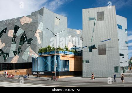 Australia, Victoria, Melbourne, Central Business District, Federation Square Flinders Street facade - Stock Photo