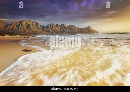 Rugged Kogelberg Mountains with dramatic clouds overhead. South Africa. - Stock Photo