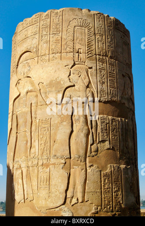 Sunk Relief Sculpture on Colomn at Kom Ombo - Stock Photo