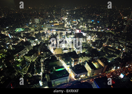 Aerial view of downtown Tokyo at night Japan city - Stock Photo