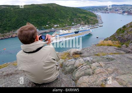 Cruise Ship St John's Harbour Newfoundland - Stock Photo
