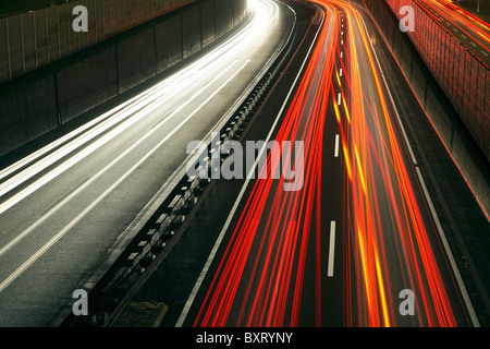 Rush-hour traffic on the A40 highway, Essen, Germany - Stock Photo