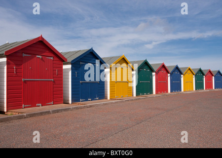 Beach Huts on Promenade at Dawlish Warren - Stock Photo