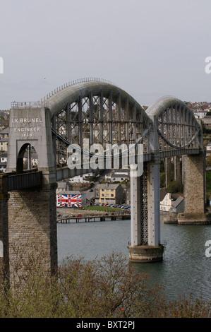 Isambard Kingdom Brunel's Royal Albert bridge which carries the railway over the River Tamar Devon Cornwall England - Stock Photo