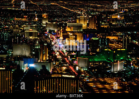 Aerial view of Las Vegas NV at night - Stock Photo