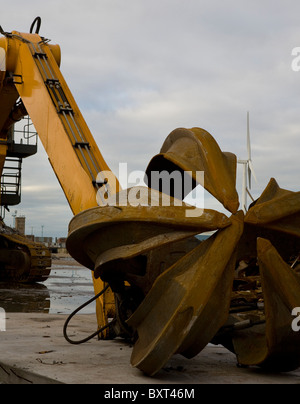 Liebherr Grab, Scrap and Salvaged Metal for Recycling _ Metals and Materials and Equipment, Liverpool, Merseyside, - Stock Photo