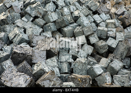 Cube Scrap and Salvaged Aluminum Metal for Recycling _ Metals and Materials and Equipment, Liverpool, Merseyside, - Stock Photo