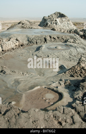 Mud volcanoes in Gobustan, Azerbaijan - Stock Photo