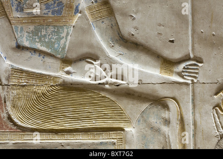 Close up of relief work from sanctuary within the Temple of Seti I at Abydos, ancient Abdju, Nile Valley Egypt - Stock Photo