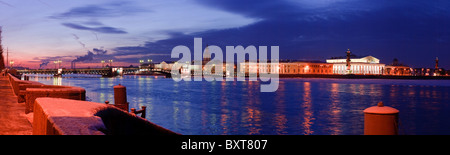 White night panoramic view on spit of vasilievsky island, old stock exchange and rostral columns, Saint-Petersburg, - Stock Photo