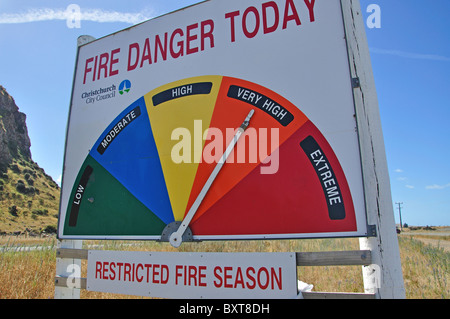 Fire danger sign, near Little River, Banks Peninsula, Canterbury, New Zealand - Stock Photo
