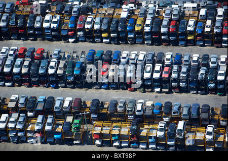 Aerial view of car wrecking yard Brisbane Australia - Stock Photo