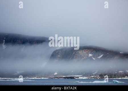 Norway, Svalbard, Nordaustlandet, Cliffs rise above sea ice in fog along Scoresby Island on summer evening - Stock Photo