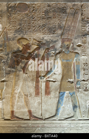 Relief work from sanctuary within the Temple of Seti I at Abydos, ancient Abdju, Nile Valley Egypt - Stock Photo