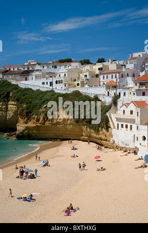 Portugal, The Algarve, Praia Do Carvoeiro Village and Beach In Spring - Stock Photo
