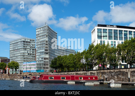 Hotels and apartments on the waterfront in Liverpool, UK - Stock Photo
