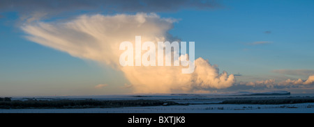 Cumulonimbus shower cloud over Caithness, Scotland, UK - Stock Photo