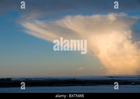 Cumulonimbus shower cloud over Caithness, Scotland, UK - Stock Photo
