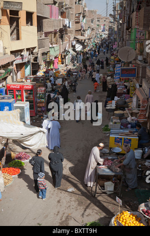 General view of local street market, Luxor, Egypt, Africa - Stock Photo