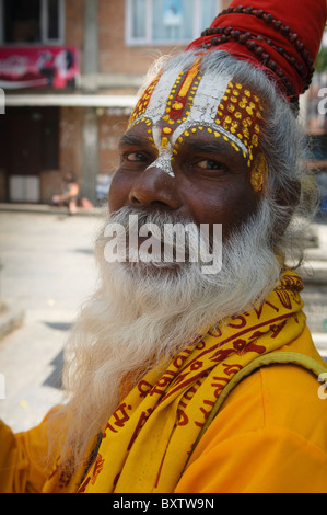 portrait of a sadhu at Durbar Square in Kathmandu, Nepal - Stock Photo