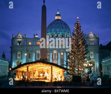 Nativity Scene With Christmas Tree In Piazza San Pietro Outside Of St. Peter's Basilica - Stock Photo