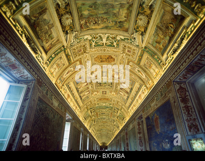 Looking Up At The Ceiling Of The Gallery Of Maps In The Vatican Museum - Stock Photo