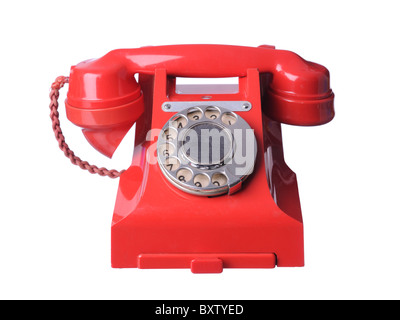 red bakelite old telephone - Stock Photo