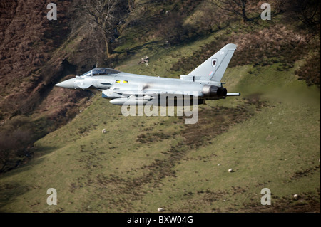 A Eurofighter Typhoon F2 aircraft of the Royal Air Force low flying in North Wales. - Stock Photo