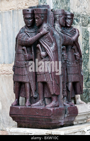 Portrait of the Four Tetrarchs, a sculpture group of four Roman emperors, Doge's Palace or Palazzo Ducale, Venice, - Stock Photo
