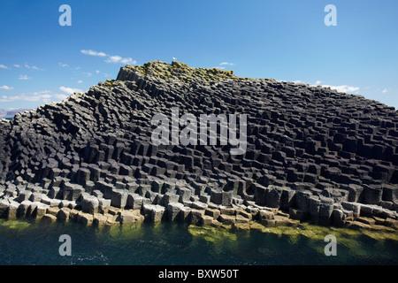 Polygonal basalt, Am Buachaille rocks, Staffa, off Isle of Mull, Scotland, United Kingdom - Stock Photo