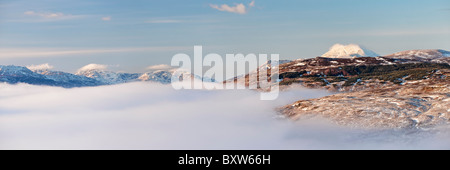 Panoramic view of Ben Lomond above a mist covered Loch Lomond. From the summit of the Conic, near Balmaha, Drymen, - Stock Photo