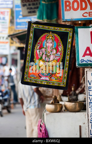 Lord Ganesha painted wall hanging in the streets of Puttaparthi, Andhra Pradesh, India - Stock Photo