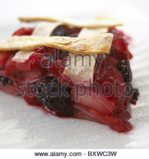 One Slice of Apple and Black Berry Tart - Stock Photo