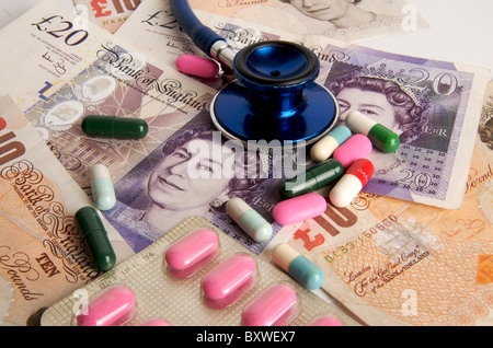 Pound sterling banknotes, stethoscope, pills, concept health care in the UK.